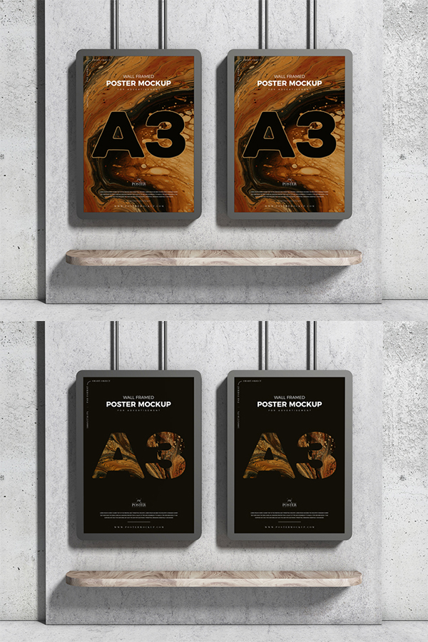 Free Attractive Wall Poster PSD Mockup For Advertisement
