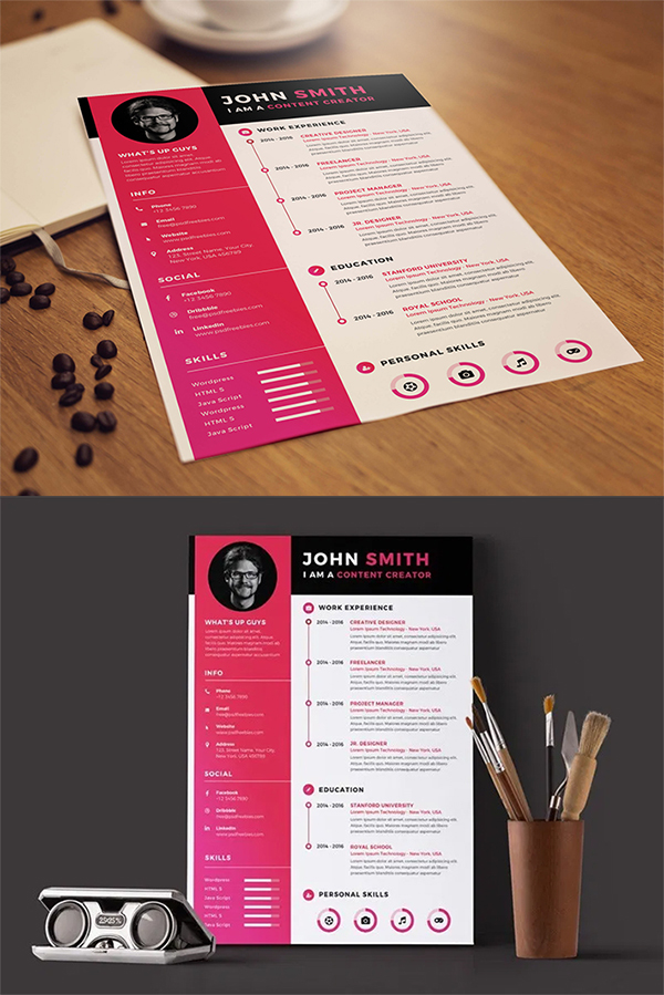 Free Download Timeline Style Resume Template (PSD)