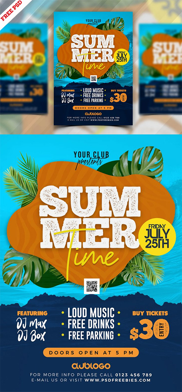 Free Awesome Summer Music Party Flyer PSD Template