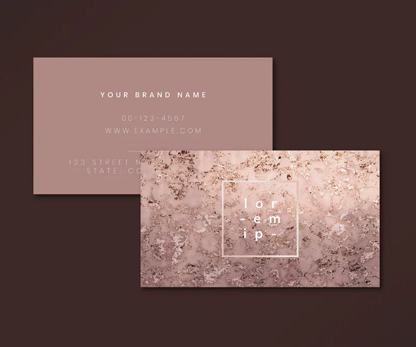 Pink Marble Textured Business Card Template