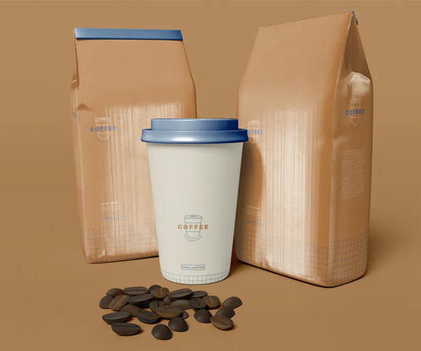 Coffee Packaging with Coffee Cup Mockup