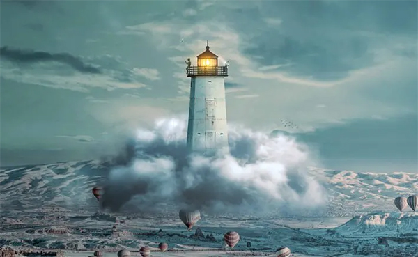 Create a Light House on Cloud Photomanipulation Tutorial