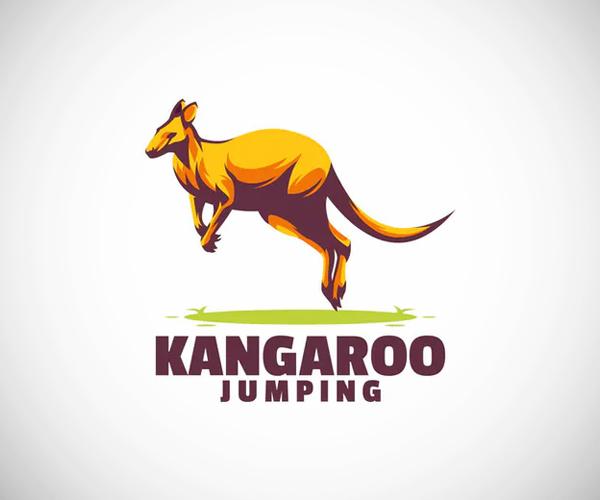 Kangaroo jumping logo