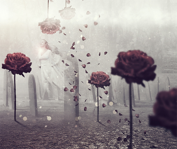 Emotional Cemetery Ghost Photoshop Manipulation Tutorial