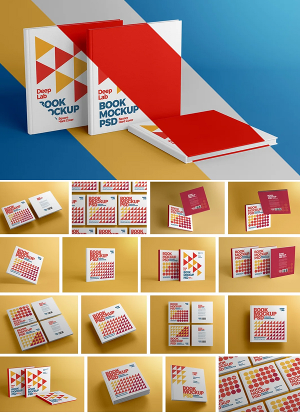 Square Book Hardcover Mockup Set