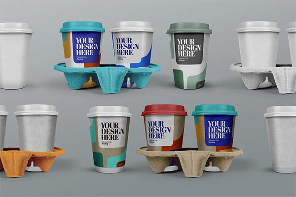 Takeout Cup Mockup Coffee Holder Set
