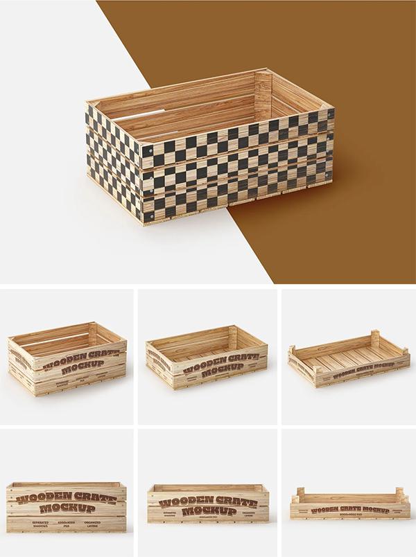 Wooden Crate Mockup Set