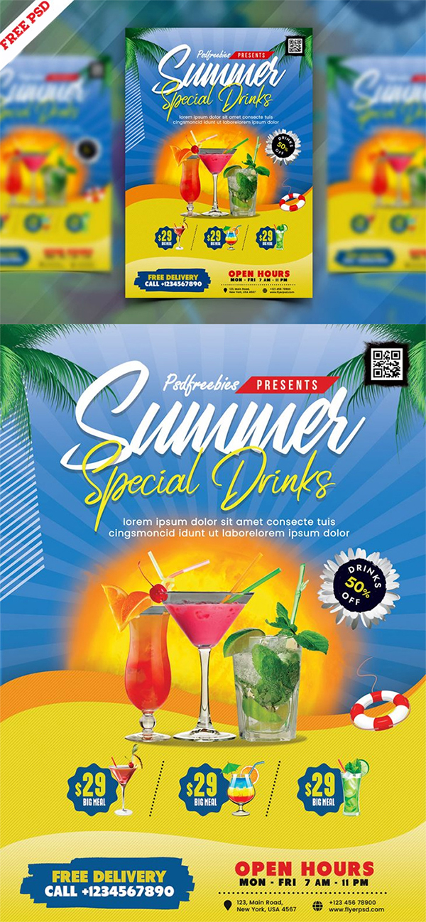 Free Awesome Summer Juice Menu Flyer Template