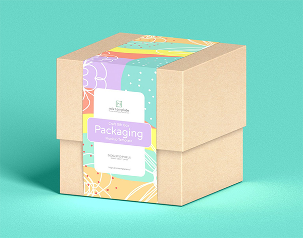 Free Craft Gift Box Packaging Mockup Template