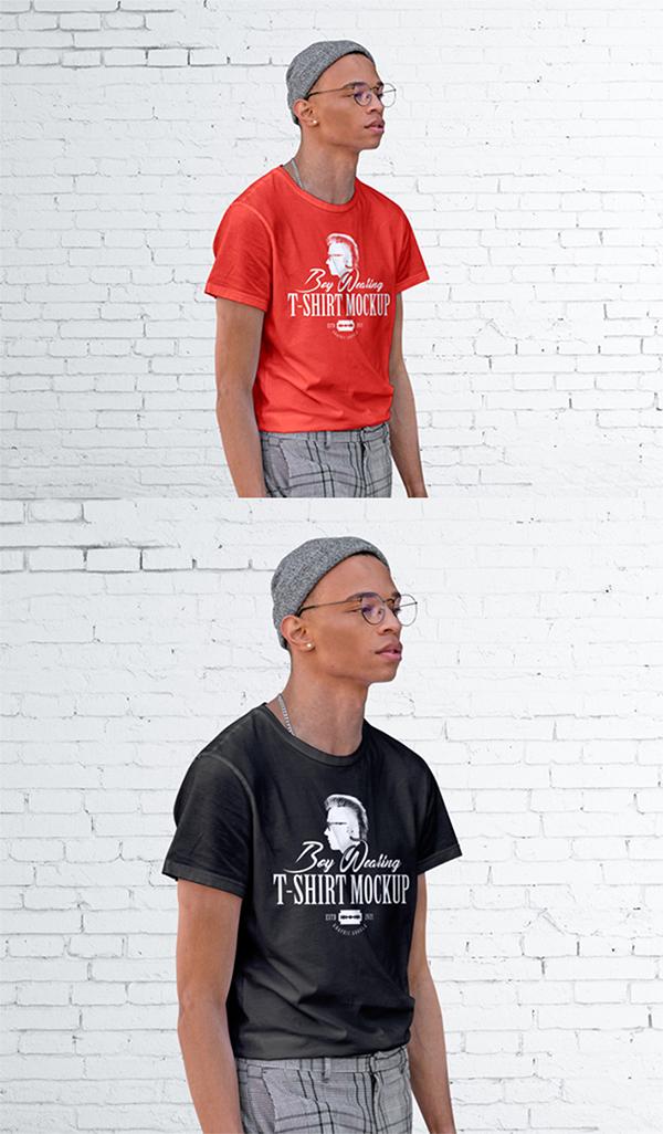 Free Download Awesome Boy T-Shirt PSD Mockup
