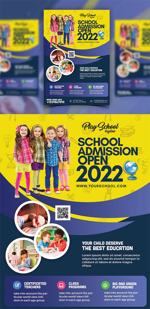 Free Attractive Creative School Admission Flyer Template