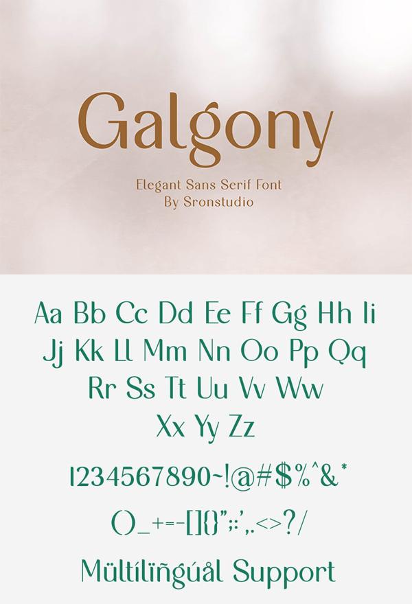 Galgony Elegant Sans Serif Font