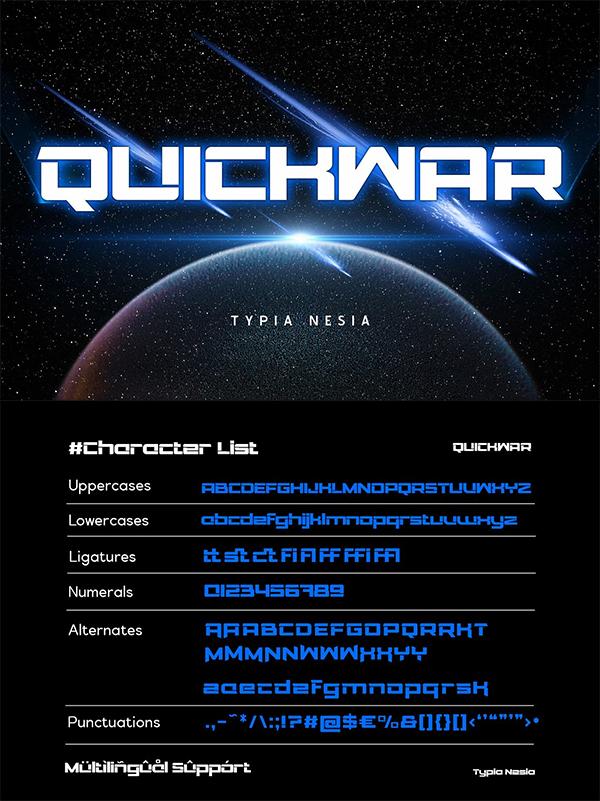 Quickwar Display Sans Font