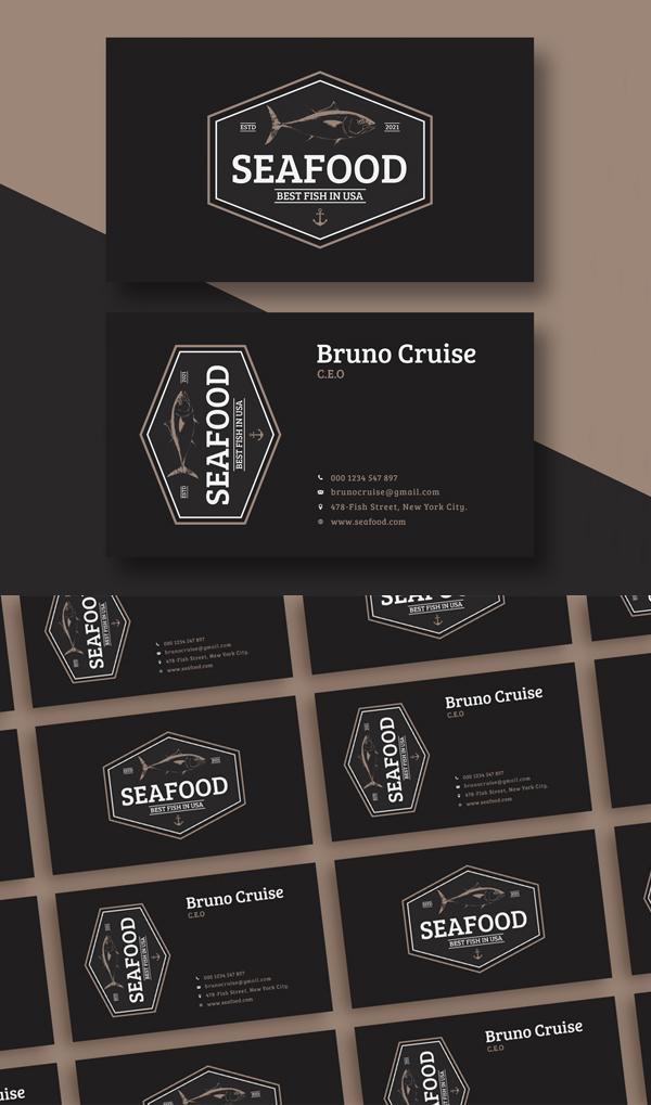 Free Seafood Business Card Design