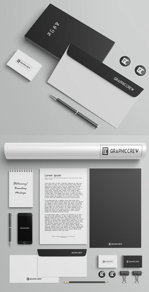 Black and White Stationery Mockup