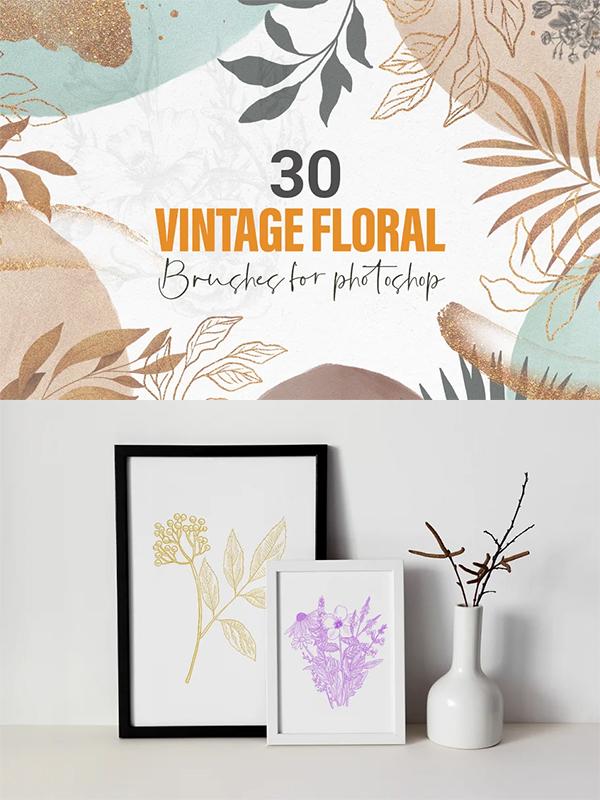 Vintage Floral Brushes
