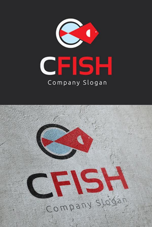 C Fish Logo Template