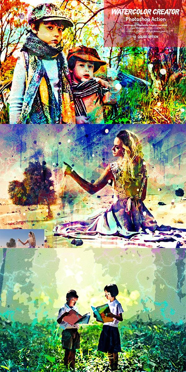 Watercolor Creator Photoshop Action