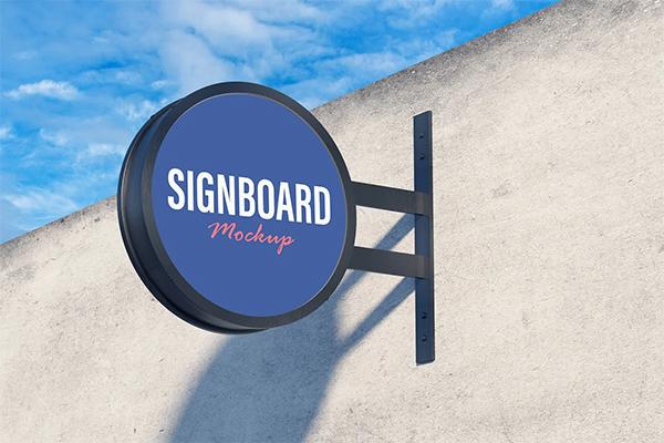 Round Signboard Mockup