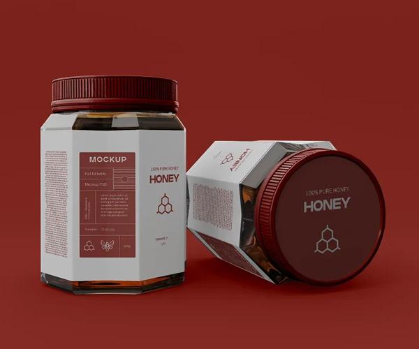 Honey Jar with Label Mockup